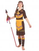 Déguisement indienne marron et jaune fille