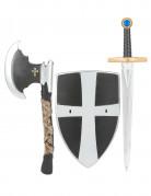 Bouclier épée et hache de chevalier médiéval en plastique enfant