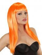Perruque longue orange à frange femme