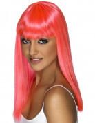 Perruque longue rose à frange femme