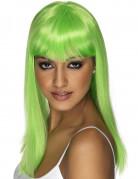 Perruque longue verte fluo à frange femme