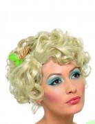 Perruque blonde courte bouclée accessoirisée femme