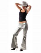 Pantalon disco holographique argent femme