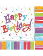 Vous aimerez aussi : 16 Serviettes en papier Happy Birthday coloré 33 x 33 cm