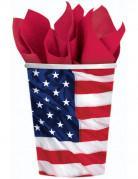 8 Gobelets en carton drapeau américain 226 ml
