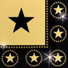16 Serviettes en papier Noir et or étoiles 33 x 33 cm