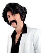 Perruque noire avec moustache homme