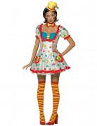 D�guisement clown blanc � pois femme