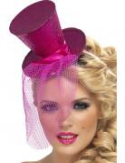 Mini chapeau haut de forme rose femme