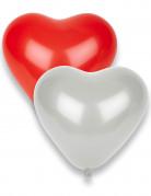 8 Ballons coeurs rouges et blancs
