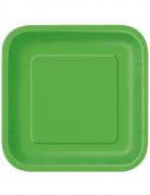 14 Assiettes carrées en carton vert citron 23 cm