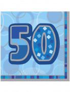 16 Serviettes en papier Age 50 ans bleues 33 x 33 cm
