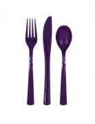 18 Assortiment couverts en plastique violets