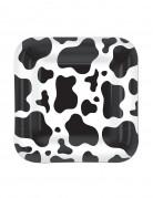 8 Petites assiettes en carton carrées vache 18 cm