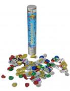 Canon à confettis avec confettis ronds métalliques 24cm