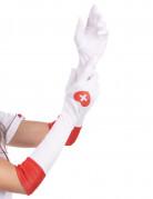 Gants longs blancs infirmière adulte
