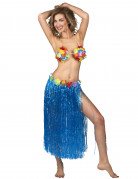 Jupe hawaïenne longue bleue adulte
