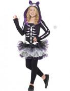Déguisement squelette chat violet fille Halloween