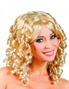 Perruque bouclée blonde à frange femme