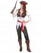 Déguisement pirate marron et blanc femme