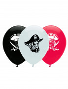 6 Ballons en latex pirate noir, blanc et rouge 30 cm