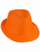 Chapeau borsalino à sequins orange adulte