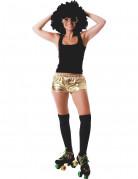 Shorty disco doré brillant femme