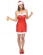 Déguisement Mère Noël sexy bretelles transparentes femme
