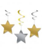 Vous aimerez aussi : 3 Décorations à suspendre étoiles dorées et argentées 60 cm