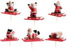 Décoration 6 pics bûche luge Père Noël