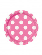 8 Petites assiettes roses foncé à pois blancs en carton 17 cm