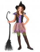 Déguisement sorcière colorée avec manches bouffantes fille