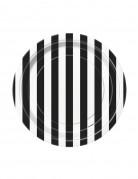 8 Petites assiettes à rayures noires et blanches en carton 18 cm