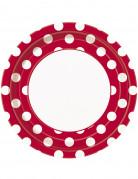 8 Assiettes rouges à pois blancs en carton 22 cm