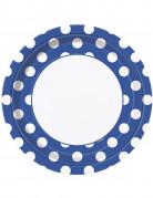 8 Assiettes bleu foncé à pois blancs en carton 22 cm