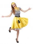 Déguisement années 50 jaune Femme