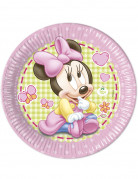 8 Grandes assiettes en carton Bébé Minnie ™ 23cm
