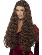Perruque longue princesse médiévale marron femme