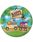 8 Assiettes anniversaire Safari aventure 23 cm