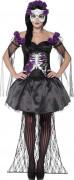 Déguisement squelette violet mexicain femme Halloween