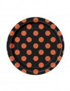 8 Petites Assiettes noires à pois orange en carton 17 cm