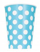 6 Gobelets en carton bleus à pois en carton 355 ml