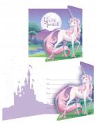 8 Cartes d'invitation Licorne magique