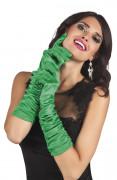Gants longs satinés verts femme