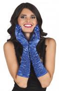 Gants longs satinés bleus femme