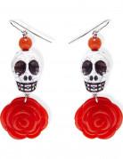 Boucles d'oreilles squelette rose rouge adulte