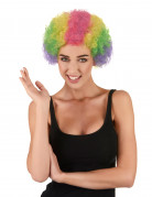 Perruque afro multicolore clown adulte