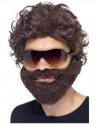 Perruque avec barbe marron et lunnettes de soleil adulte