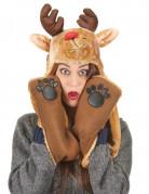 Bonnet avec écharpe renne adulte Noël