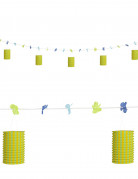 Guirlande fleurs et lanternes verte et jaune 3 m